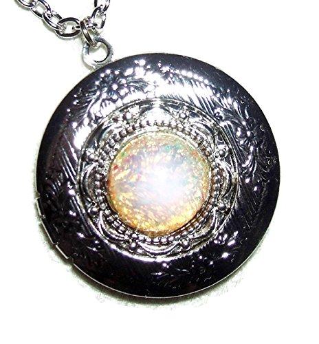FIRE OPAL LOCKET NECKLACE Silver Pltd Pendant CZECH GLASS Fire Opalized Stone