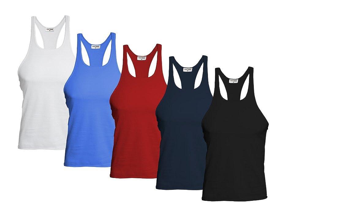 Raftaar 5 Pack Mens Gym Stringer Muscle Vest Tank Top Sports Top Bodybuilding Racerback