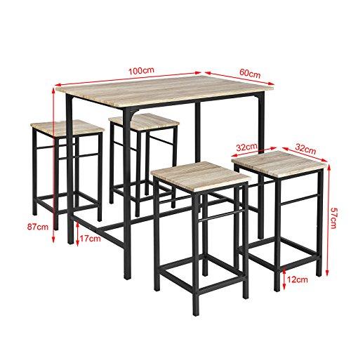 Tavolo Con Sgabelli.Sobuy Set 5 Pezzi Tavolo Con 4 Sgabelli Set Di Mobili Da Balcone Ogt11 N It