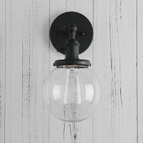 Permo vintage industrial wall sconce lighting fixture with mini 59 permo vintage industrial wall sconce lighting fixture with mini 59 round clear glass globe hand blown shade aloadofball Image collections
