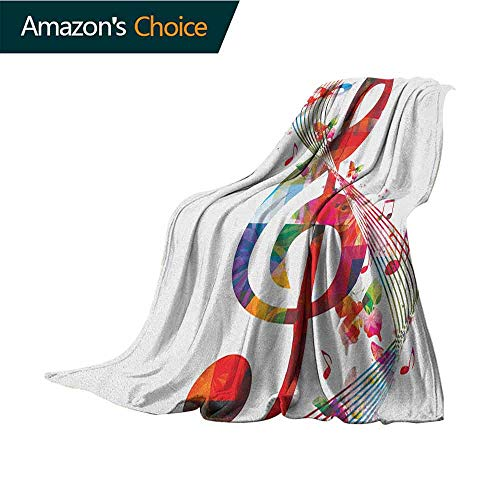 Music Soft Cozy Throw Blanket,Artwork with Musical Notes