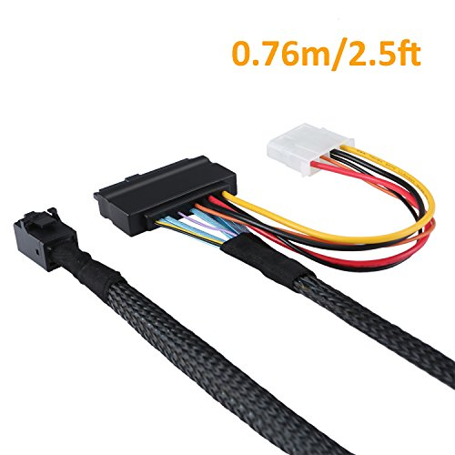 CableCreation 2.5FT Mini SAS HD Cable Internal Mini SAS SFF 8643 to U.2 SFF 8639 Cable with 4 Pin SATA Power Connector for Workstations,Servers and More by CableCreation (Image #1)