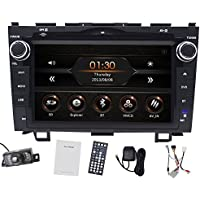 Car GPS Navigation for Honda CRV 2008-2011 Double Din Car Stereo DVD Player 8 Inch In-dash DVD Video Receiver with Built-In Bluetooth TV Radio, RDS SD/USB + Free Rear View Camera+Free Map Card