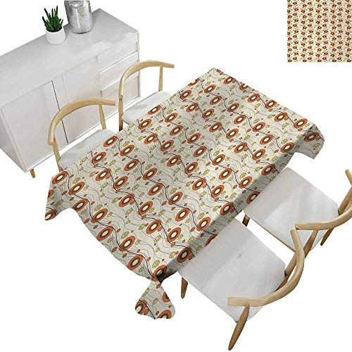 """Vintage,Tablecloth Rectangular Abstract Poppy Designs with Vertical Curved Lines Nature Illustration Fabric Print Tablecloth Burnt Sienna Brown Beige 54""""x 90"""""""