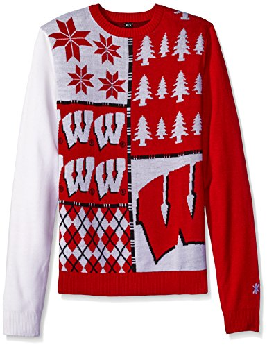 Klew NCAA Busy Block Sweater, XX-Large, Wisconsin Badgers