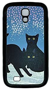 Galaxy S4 Case, Personalized Protective Soft Rubber TPU Black Edge Two Black Cats Case Cover for Samsung Galaxy S4 I9500