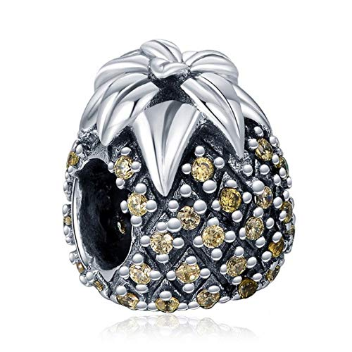 - EVESCITY Many Styles Silver Pendents 925 Sterling Beads Fits Pandora, Similar Charm Bracelets & Necklaces (Strawberry Pineapple)
