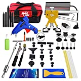 AUTOPDR 51Pcs Auto PDR Paintless Dent Repair Pdr Dent Puller Kit Equipent Slide Hammer Kits Hail Repair Kit Medium Dent Repair PDR Glue Puller Kit with Tab Lifter Glue Gun Mini Lifter for Pop a Dent