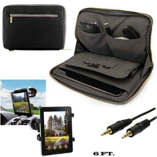 Irista Carrying Leather Sleeve (Black, Gray) For Samsung Galaxy Tab 2, Tab 3 10.1 inch Tablet + Windshield Car Mount w/ Auxiliary Cable (AUX) -  VangoddyCase, 94201