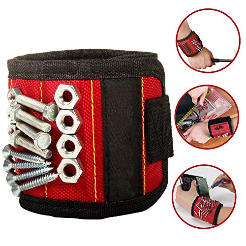 Magnetic Wristband Tool with Super Strong Magnets Adjustable Wrist Arm Band Screw Holder Handy for Holding Screws Nails Bolts Drilling Bits and Small Tools