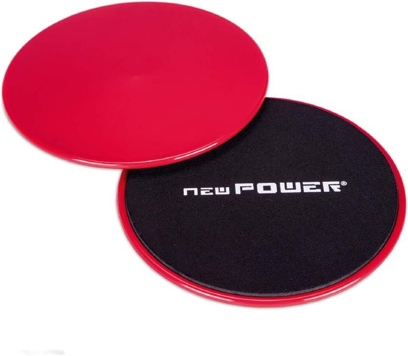 NEWPOWER - Discos Deslizantes Fitness con Doble Cara (ø18cm) para Mejorar Coordinación y Equilibrio. Slider para Entrenamientos Funcionales de Cuerpo ...