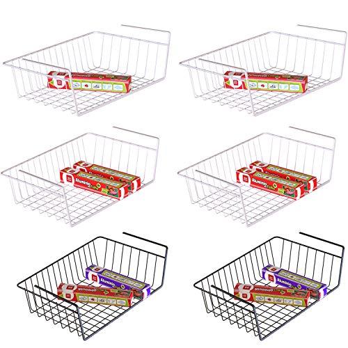 Under Shelf Basket, iSPECLE 6 Pack Under Shelf Wire Baskets, Slides Under Shelf Rack For Storage, Easy to Install, 4 White, 2 Black