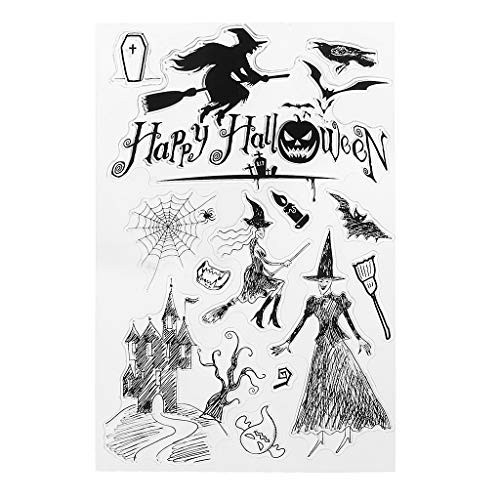 RingBuu Halloween Transparent Silicone Clear Stamps for Scrapbooking DIY Paper Card Gift -