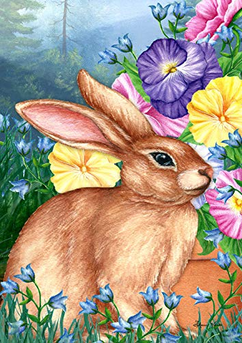 Toland Home Garden 1012306 Blooming Bunny 28 x 40 Inch Decorative, Spring Forest Flowers, House Flag