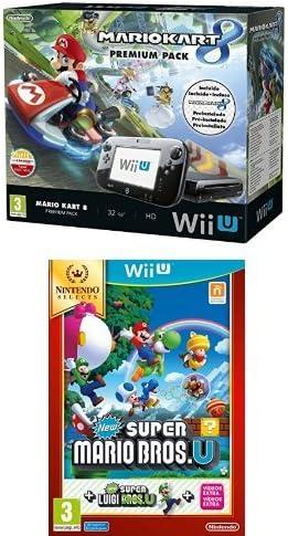 Nintendo Wii U - Consola Premium Pack Mario Kart 8 (Preinstalado) + New Super Mario Bros. U + Luigi U: Amazon.es: Videojuegos