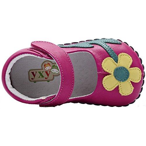 YXY - Zapatos de bebe primeros pasos de cuero niñas | Rosa flor amarilla Rosa