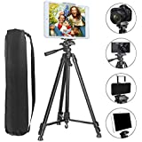 """Tripod Compatible iPad iPhone, PEYOU Upgraded 62"""" inch Lightweight Aluminum Phone Camera Tablet Tripod + 2 in 1 Universal Mount Holder Compatible Smartphone (Width 2-3.3""""),Tablet (Width 4.3-7.2"""")"""