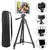 PEYOU 62' Lightweight Tripod for Tablet Phones DSLR Camera +Phone and Tablet Holder +Remote Control+Bag Compatible for iPad 9.7'/Air/Mini Samsung Tab/S9/Note 9 iPhone XR/XS MAX/X/8/7/6/Plus 4'-10.5'