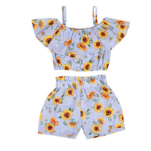 (TIFENNY Baby Girls Print Sleeveless T-Shirt+Shorts+Belt Outfits Clothes Set)