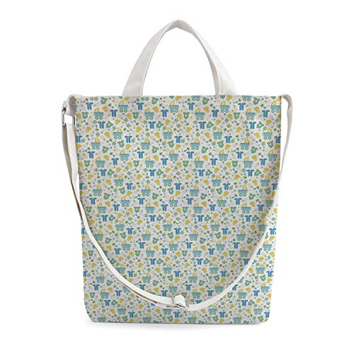 Baby Simple Zippered Canvas Bag,Retro Newborn Items Stroller Rubber Duck Milk B