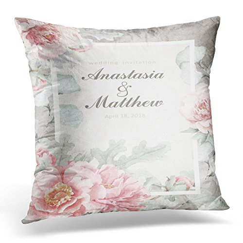 (SPXUBZ Silver Pink Peonies Raster Watercolor Floral Flowers Ginkgo Leaves and Dusty Miller or Save the Date Decorative Home Decor Square Indoor/Outdoor Pillowcase Size: 18x18 Inch(Two Sides))