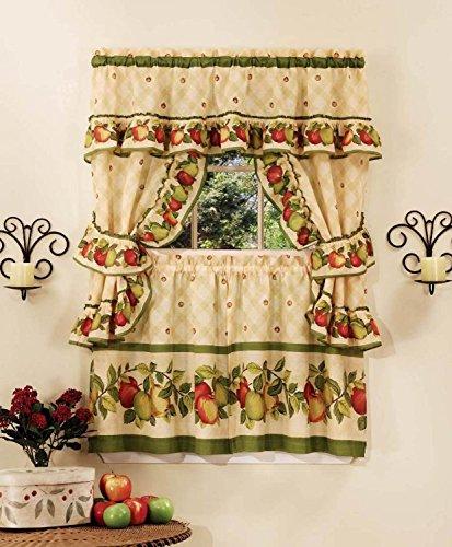 Apple Orchard Printed Cottage Curtain Tier Set Set, 57W x 36L