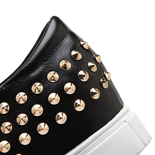 AmoonyFashion Womens Studded Imitated Suede Low-Heels Pull-On Pumps-Shoes Black eAIO2Tb