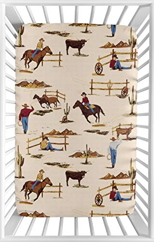 Sweet JoJo Designs Cowboy Western Baby Boy Fitted Mini Portable Crib Sheet for Wild West Collection - for Mini Crib or Pack and Play - Collection Crib Bedding West