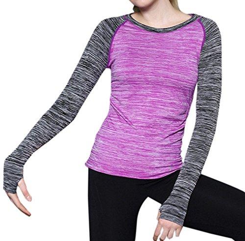 Jogging Camicie Donne Maglietta Sportivo Girocollo Running Yoga Sottile JackenLOVE da Fitness Moda Shirts Gym Tumblr Rapida Blouses Asciugatura Tops Viola2 T da Tee Casual Bluse ZwdXPR