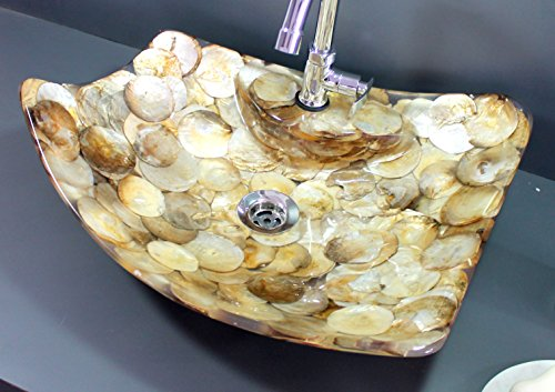 KLEO Luxurious Mother of Pearl (Big Seashells) in Abstract Design- Wash Basin/ Washbowl / Sink/ Washstand - Golden by KLEO