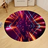 binpon123 Custom round floor mat futuristic space tunnel
