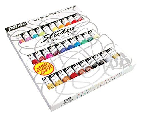 (PEBEO Studio Acrylics High Viscosity, Fine Acrylic, Set of 30 Assorted 20 ml Tubes)