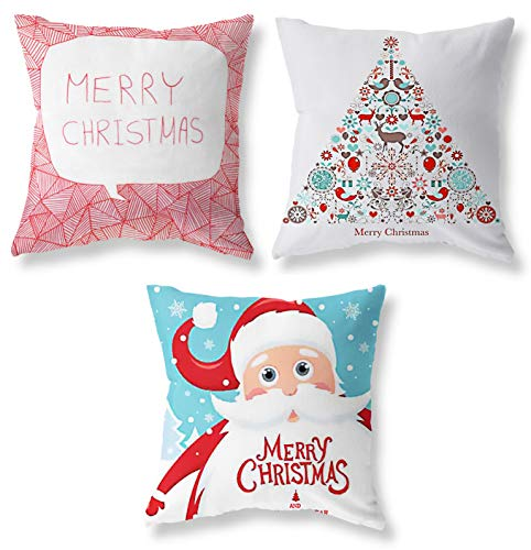 Joyceoo Christmas Santa Claus Christmas Tree Throw Pillow Covers Set of 3, Accent Pillow Cases 18x18 Inch for Home Couch Car Decorative (Modern Xmas Set of 3)