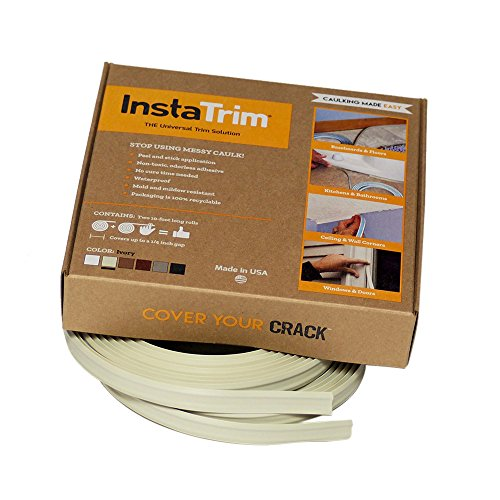 InstaTrim - Universal, Flexible, Adhesive Trim Solution - Cover Gaps Between Walls, Floors, Ceilings, and More (Ivory) - Ivory Wall Tile
