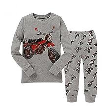 "Kidsmall ""Motorcycle"" Baby Boys Pajama Set Sleepwear 100% Cotton 2T-7T"