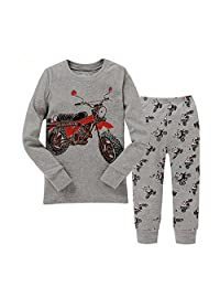 "Kidsmall ""Motorcycle"" Baby Boys Pajama Set Sleepwear 100% Cotton 2T-7T"
