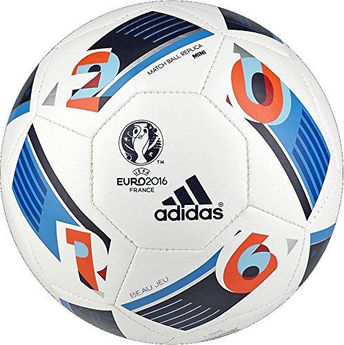 Adidas Euro Ball - adidas Performance Euro 16 Mini Soccer Ball, White/Bright Blue/Night Indigo, 1