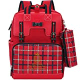 Uniuooi Primary School Students Ergonomic Backpack Book Bag - Waterproof Nylon Schoolbag for Boys Girls Gift 6-12 Years Old (Red)