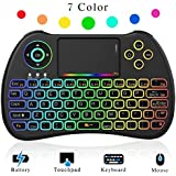 NEW! 2018 Rainbow Backlit 2.4GHz Mini Wireless Remote Keyboard and Mouse with Touchpad, USB Rechargeable with Li-ion Battery for Google Android TV Box, PC, HTPC, X-BOX, Raspberry Pi 3