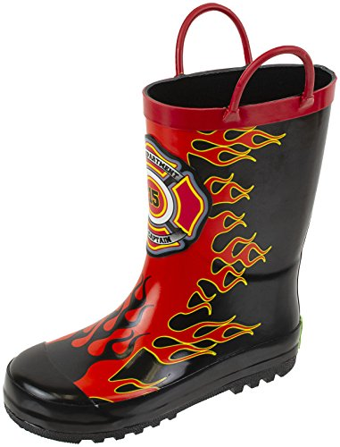 Rainbow Daze Kids Rain Boots Captain Flame Fireman Fire Chief with Flames, Waterproof, Rubber, Size 2/3