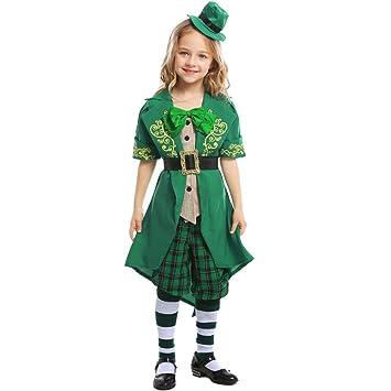 Lhlsx Trajes Día Leprechaun irlandés Green Spirit Cosplay ...