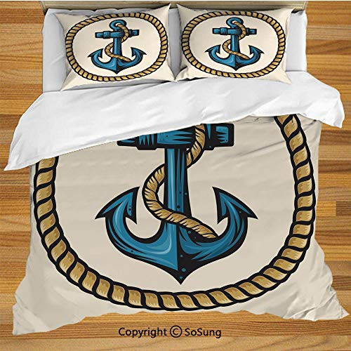 - Anchor King Size Bedding Duvet Cover Set,Sailor Design with Circular Rope and Anchor Antique Maritime Nautical Decorative Decorative 3 Piece Bedding Set with 2 Pillow Shams,Pale Coffee Blue Cream