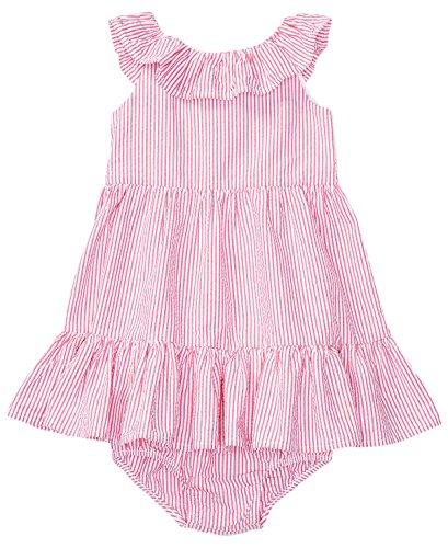Ralph Lauren Baby Girl Seersucker Dress & Bloomer Set Pink/White (6 Months)