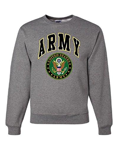 (United States Army Crew Neck Sweatshirt Army Crest Patriotic Gray L)