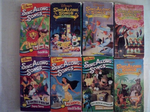 Disney Sing Along Songs 8 Pack VHS Movies: The Lion King - Circle of Life, Very Merry Christmas Songs, You Can Fly, Zip a Dee Doo Dah, the Hunchback of Notre Dame - Topsy Turvy, Pocahontas-colors of the Wind, Fuk's Musical Adventure: Animal Kingdom, the Bare Necessities