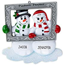DIBSIES Personalization Station Personalized Mr and Mrs Snowman Couples Christmas Ornament