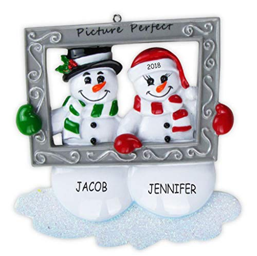 Ornament Personalized Name (DIBSIES Personalization Station Personalized Mr and Mrs Snowman Couples Christmas Ornament)