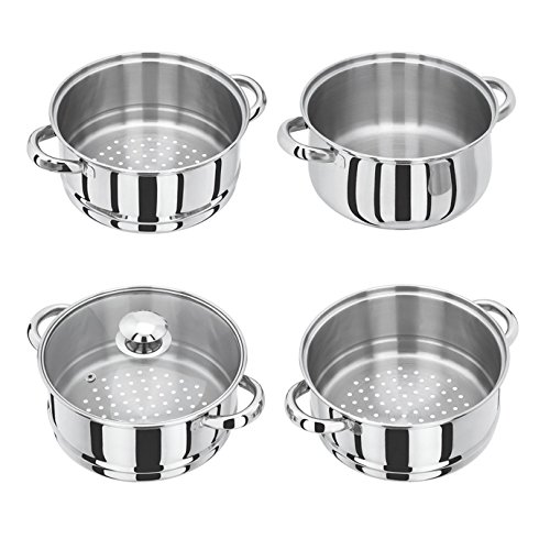 -[ 24cm INDUCTION HOB COMPATIBLE 5 Piece 4-tier Stainless Steel Steamer With Glass Lid  ]-