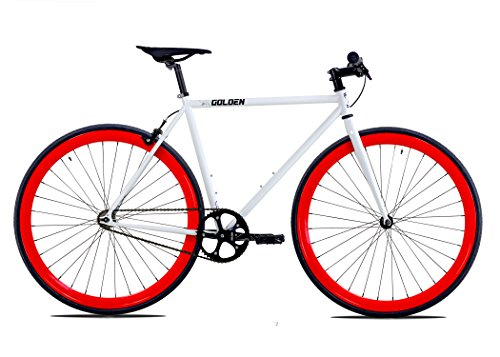 Golden Cycles Single Speed Fixed Gear Bike with Front & Rear Brakes(Diablo 55), White/Red Review
