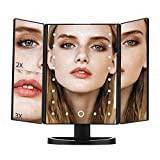 Makeup Mirror, DIOZO 21 LED Vanity Mirror with Lights, Touch Control Design, 1x/2x/3x Magnification, Portable Black Dual Power Supply Cosmetic Lighted Up Mirror